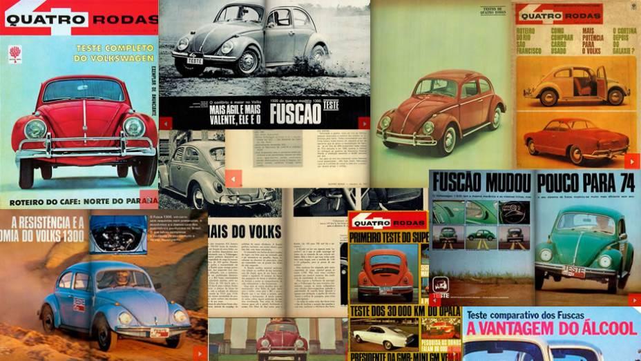Em 20 de janeiro é comemorado o Dia Nacional do Fusca. QUATRO RODAS testou diversas gerações e versões do modelo ao longo do tempo. Veja as principais matérias sobre o carro da VW que já estiveram na revista!