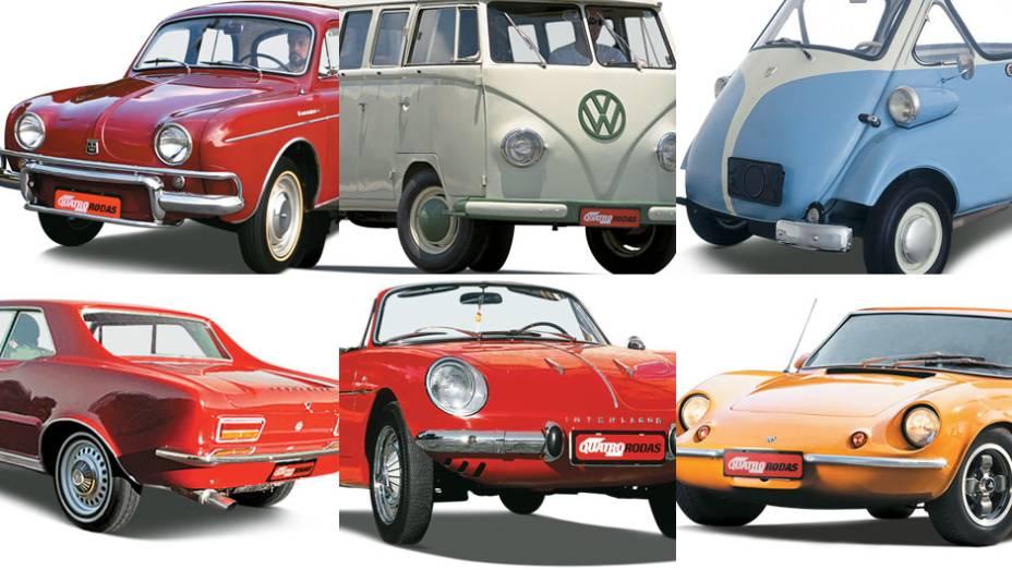 Selecionamos alguns representantes da década de 60 que compõem o retrato histórico dos carros nacionais