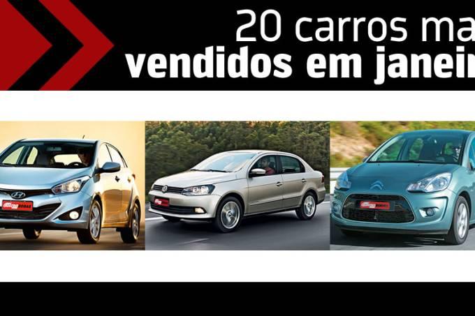 Os 20 carros mais vendidos em Janeiro 2013