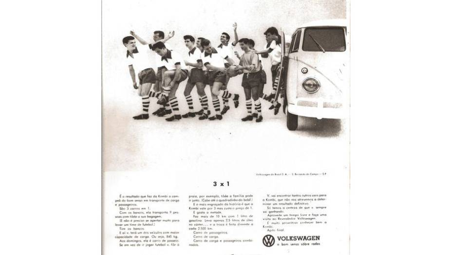 Com a Seleção Brasileira de futebol obtendo sucesso mundo afora, era óbvia a alusão ao futebol na propaganda da Kombi, destacando sua capacidade.