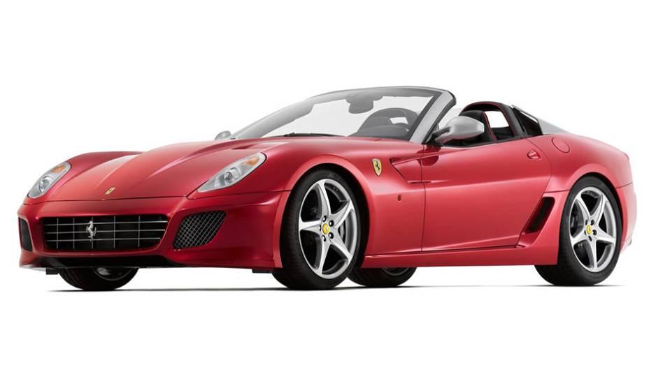 11º) Ferrari 599 SA Aperta (2011) - valor do IPVA: Ferrari 599 SA Aperta; valor venal: R$ 1.594.270,00; equivale a: Fiat Punto T-JET 1.4 Turbo (R$ 62.477,00)