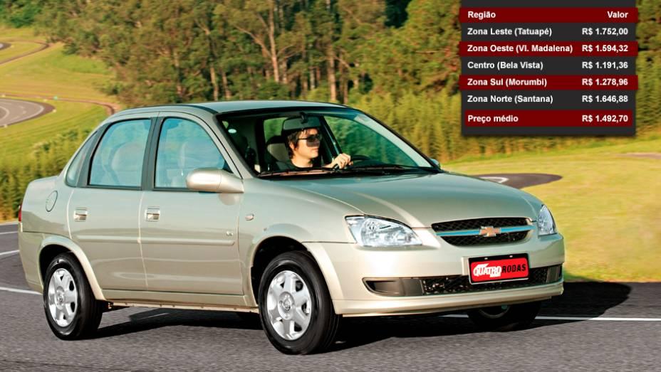 Chevrolet Classic - Posição entre os mais vendidos: 11º lugar - Posição no ranking de valor dos seguros: 18º lugar
