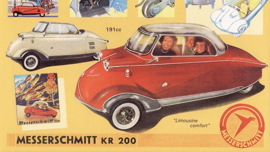 Messerschmitt KR 200 (1955) - Acha o visual esquisito? Pois saiba que, ao engatar a ré, o motor mudava de lado, disponibilizando quatro velocidades também para trás. Provavelmente, o mais excêntrico dos alemães.