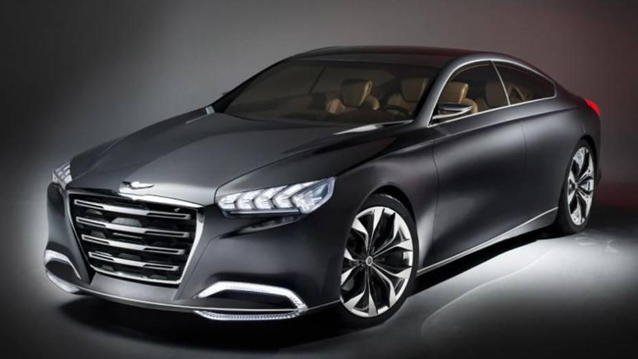 """A Hyundai surpreendeu no Salão de Detroit ao apresentar o conceito HCD-14 Genesis   <a href=""""http://quatrorodas.abril.com.br/saloes/detroit/2013/hyundai-hcd-14-genesis-730952.shtml"""" rel=""""migration"""">Leia mais</a>"""