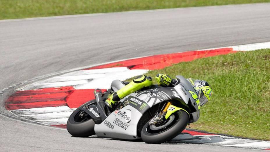 """Valentino Rossi ficou apenas com o quinto lugar nos testes. <a href=""""http://quatrorodas.abril.com.br/moto/noticias/motogp-pedrosa-mais-rapido-sepang-734603.shtml"""" rel=""""migration"""">Leia mais</a>"""