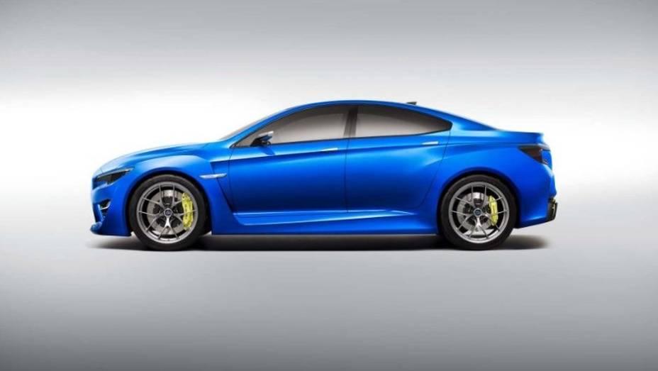 """Com design que se assemelha a um coupé de quatro portas, o conceito tem linhas bastante agressivas   <a href=""""%20http://quatrorodas.abril.com.br/saloes/new-york/2013//subaru-wrx-concept-737153.shtml"""" rel=""""migration"""">Leia mais</a>"""