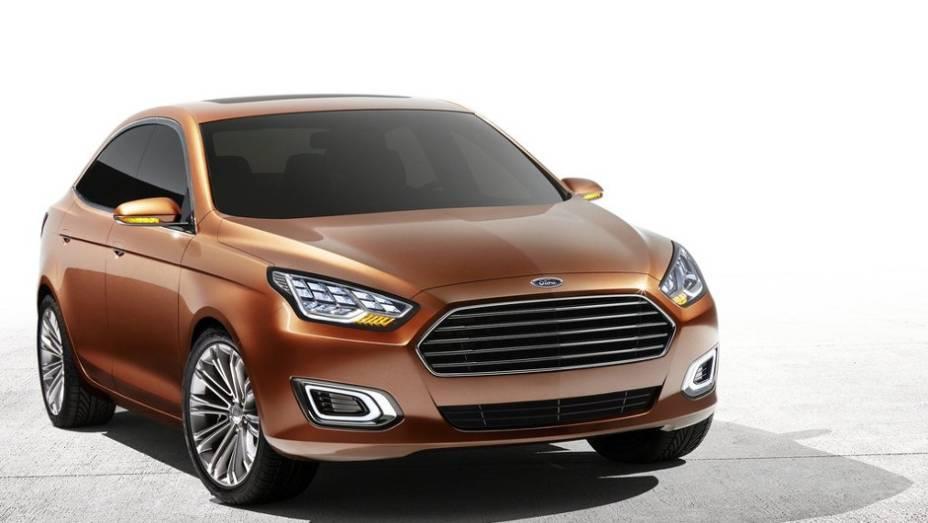 """A Ford reviveu o nome Escort com um novo conceito apresentado no Salão de Xangai   <a href=""""%20http://quatrorodas.abril.com.br/saloes/xangai/2013/ford-escort-concept-739214.shtml"""" rel=""""migration"""">Leia mais</a>"""