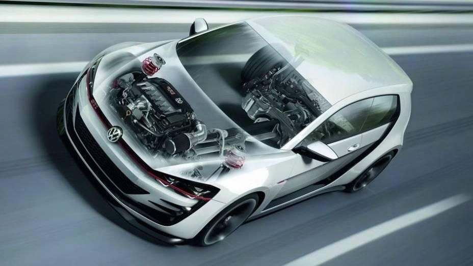 """O carro acelera de 0 a 100 km/h em 3,9 segundos e alcança a velocidade máxima de 299 km/h   <a href=""""http://quatrorodas.abril.com.br/noticias/fabricantes/vw-prepara-golf-design-vision-gti-concept-740746.shtml"""" rel=""""migration"""">Leia mais</a>"""