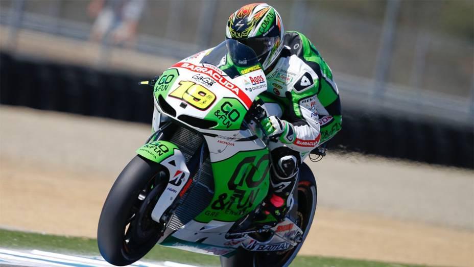 """Álvaro Bautista (GO&FUN Honda Gresini) foi o terceiro mais rápido   <a href=""""http://quatrorodas.abril.com.br/moto/noticias/motogp-bradl-surpreende-pole-eua-747594.shtml"""" rel=""""migration"""">Leia mais</a>"""