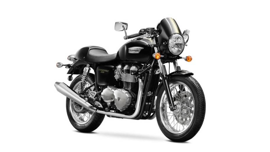 """Triumph lança Thruxton 900 durante o Salão Duas Rodas 2013   <a href=""""http://quatrorodas.abril.com.br/moto/noticias/triumph-revela-lancamentos-salao-duas-rodas-756393.shtml"""" rel=""""migration"""">Leia mais</a>"""