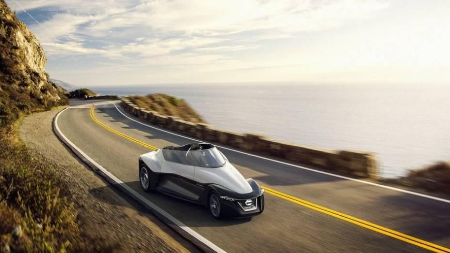 """Projetado para ser uma prévia de um modelo de produção futuro, o BladeGlider é um roadster com o formato de uma asa delta   <a href=""""http://quatrorodas.abril.com.br/noticias/saloes/toquio-2013/nissan-anuncia-conceito-bladeglider-salao-toquio-759658.shtml"""" rel=""""migration""""></a>"""