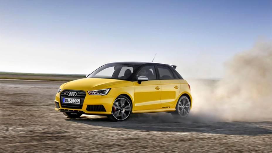 """Lançamento da Audi conta com uma carroceria um pouco mais agressiva, com destaque para os para-choques e saias laterais mais avantajados   <a href=""""http://quatrorodas.abril.com.br/noticias/saloes/genebra-2014/audi-lanca-oficialmente-s1-s1-sportback-2014-7"""" rel=""""migration""""></a>"""