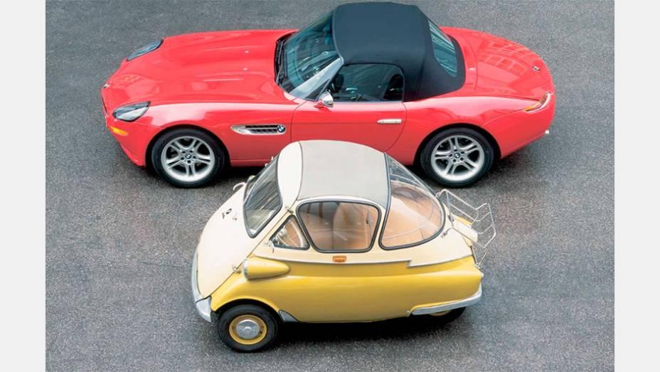 BMW Isetta: O projeto italiano da ISO foi adaptado sob licença em 1955 pela BMW para suprir a lacuna entre suas motos e o luxuoso 501. Deu origem ao 600, de quarto lugares
