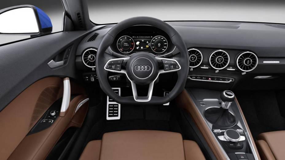 """...novos airbags que ocupam 40% menos espaço do que no TT anterior, sistema de áudio com 12 alto-falantes, entre outras novidades   <a href=""""http://quatrorodas.abril.com.br/noticias/saloes/genebra-2014/audi-apresenta-novo-tt-775222.shtml"""" rel=""""migration"""">Leia mais</a>"""