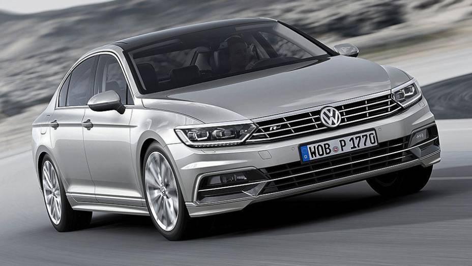 """A Volkswagen apresentou a nova geração do Passat   <a href=""""http://quatrorodas.abril.com.br/noticias/fabricantes/volkswagen-apresenta-novo-passat-788079.shtml"""" rel=""""migration"""">Leia mais</a>"""