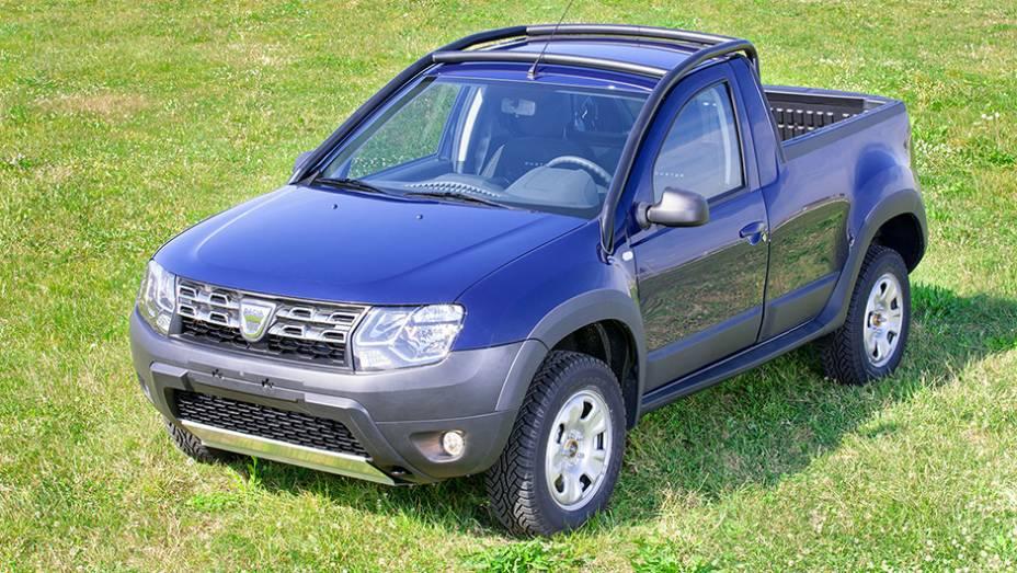 """Dacia exibiu nesta terça-feira (7) sua picape baseada no Duster   <a href=""""http://quatrorodas.abril.com.br/noticias/fabricantes/dacia-oficializa-duster-picape-805080.shtml"""" rel=""""migration"""">Leia mais</a>"""