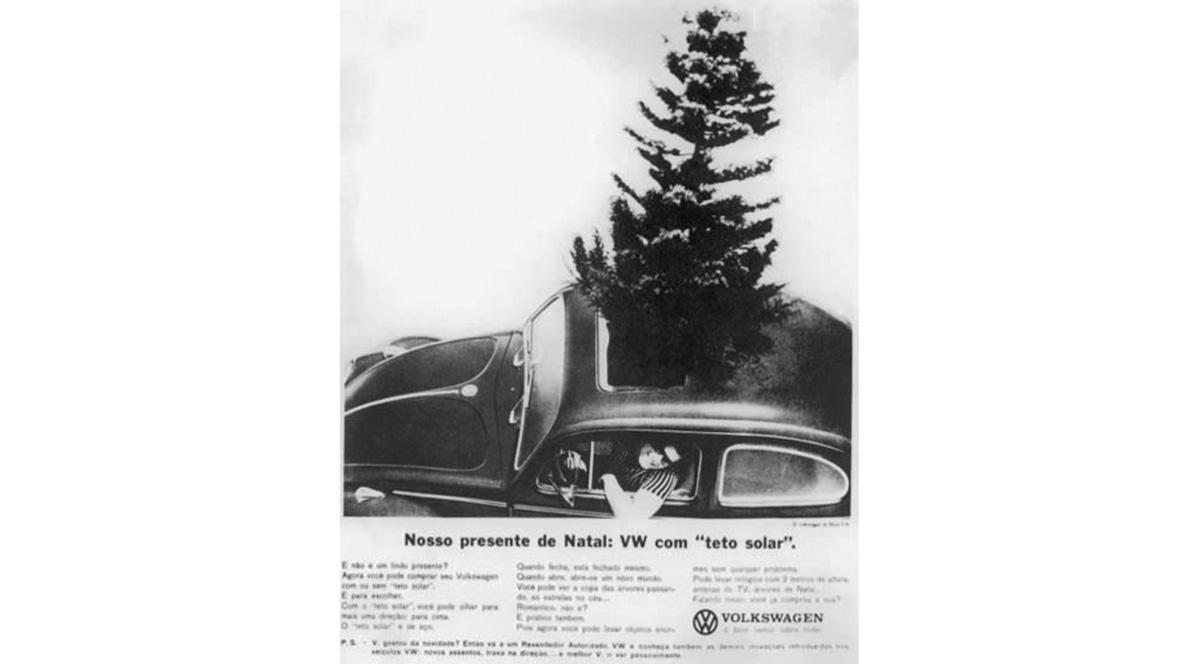 Propaganda do Fusca, da Volkswagen, com teto solar, veiculado em 1964