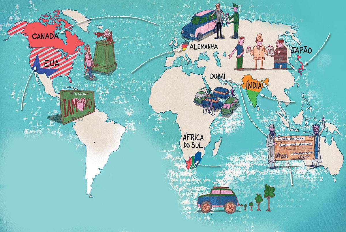 Mapa das leis e dos costumes automotivos