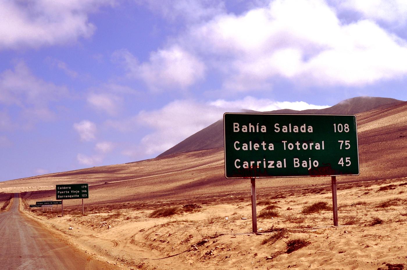 rota costeira entre Huasco e Caldera