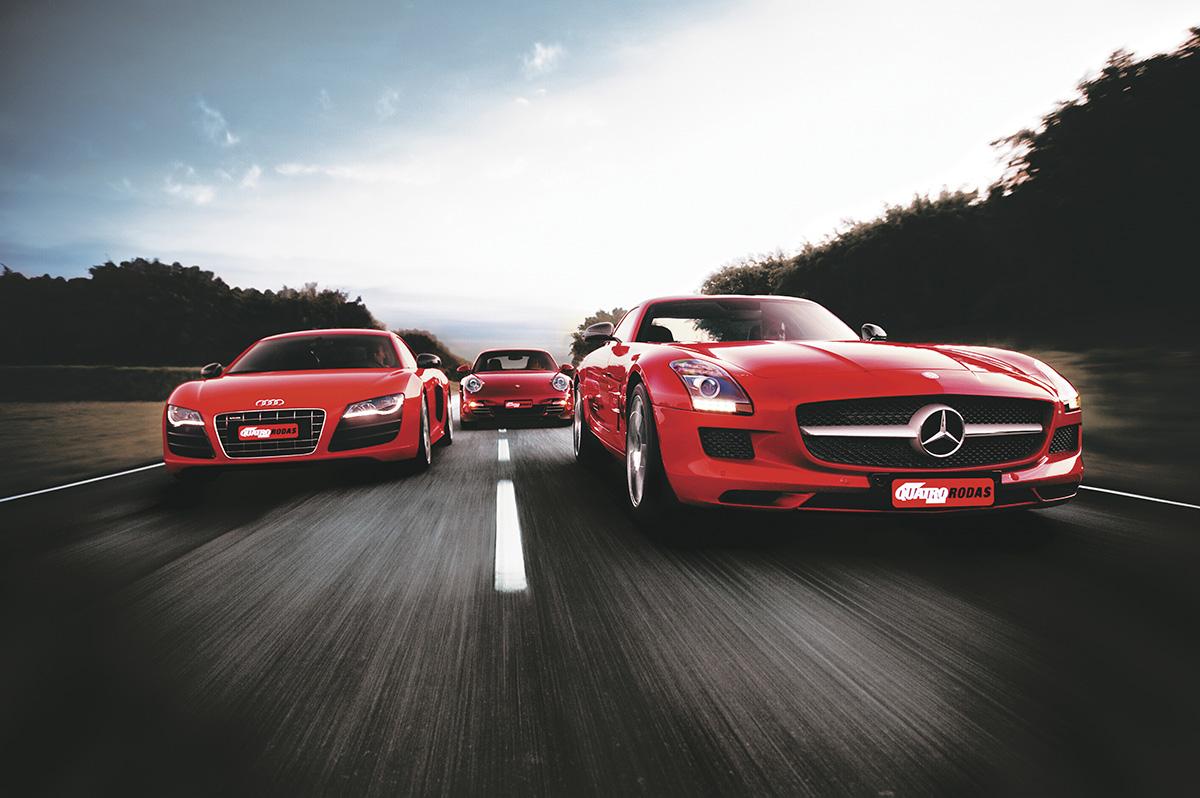 R8 da Audi, 911 Turbo da Porsche e SLS AMG da Mercedes, durante teste compartivo