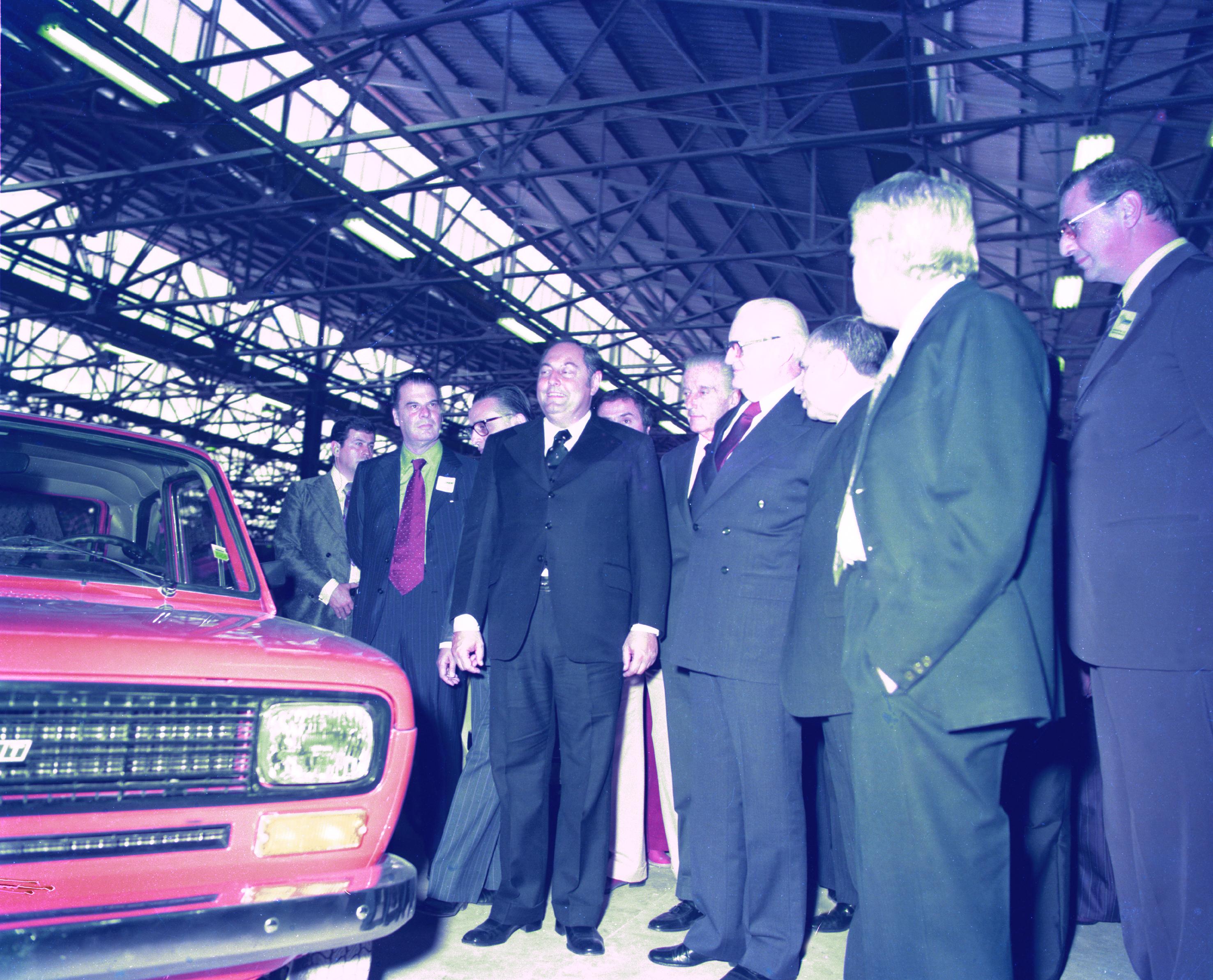 O então presidente Ernesto Geisel na inauguração da fábrica da Fiat, em 1976