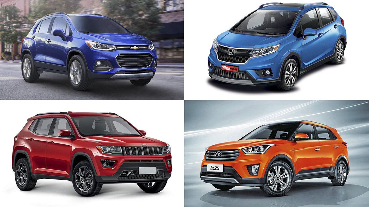 Chevrolet Trackes, Honda WR-V, Jeep Compass e Hyundai ix25