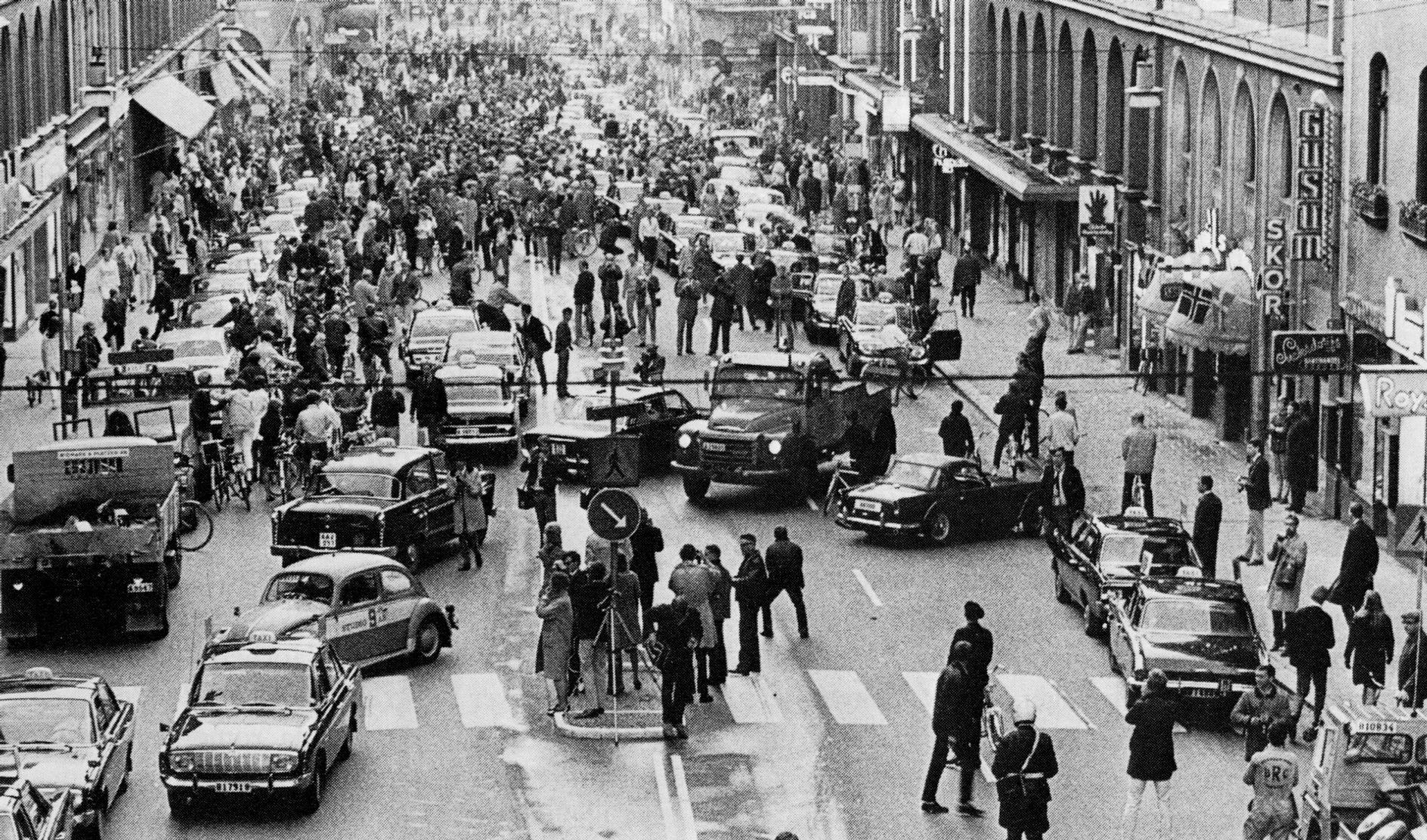 Mudança de mão em Estocolmo, em 1967