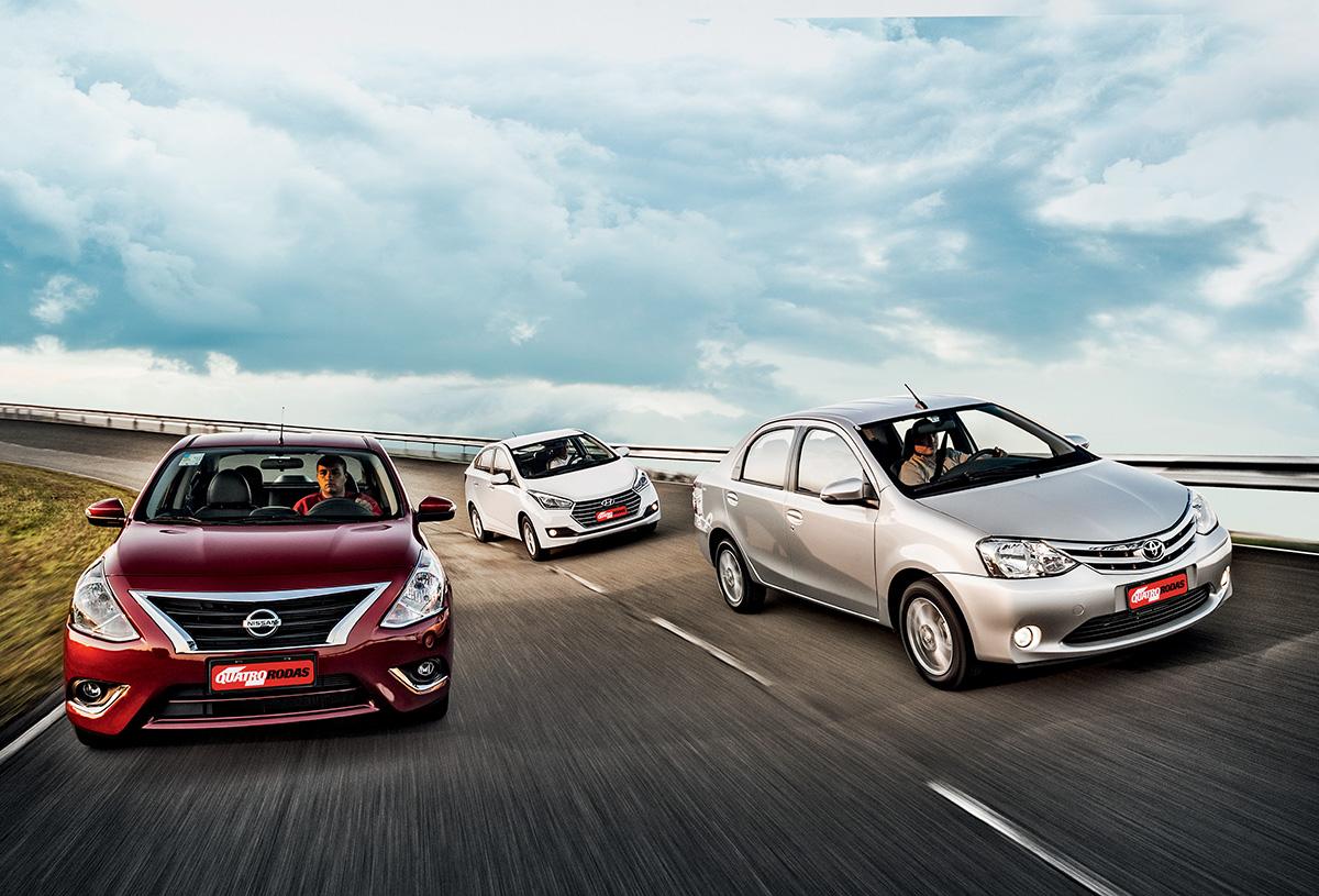 Nissan Versa, Hyundai HB20S e Toyota Etios