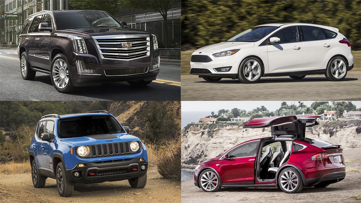 Cadillac Escalade, Ford Focus, Jeep Renegade e Tesla Model X