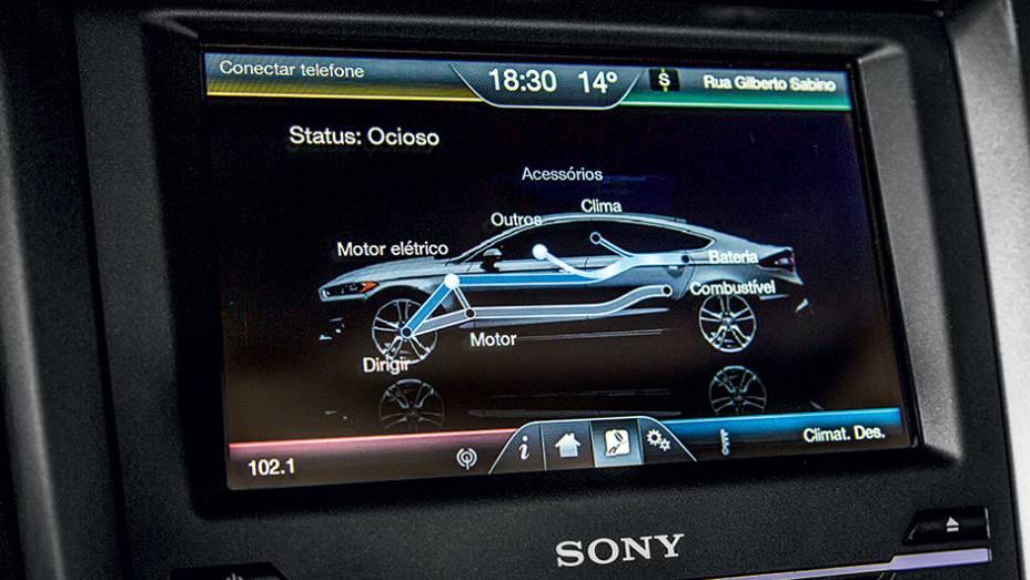 """Na tela maior, o sistema de gestão de energia   <a href=""""http://quatrorodas.abril.com.br/carros/testes/ford-fusion-hybrid-757087.shtml"""" rel=""""migration"""">Leia mais</a>"""