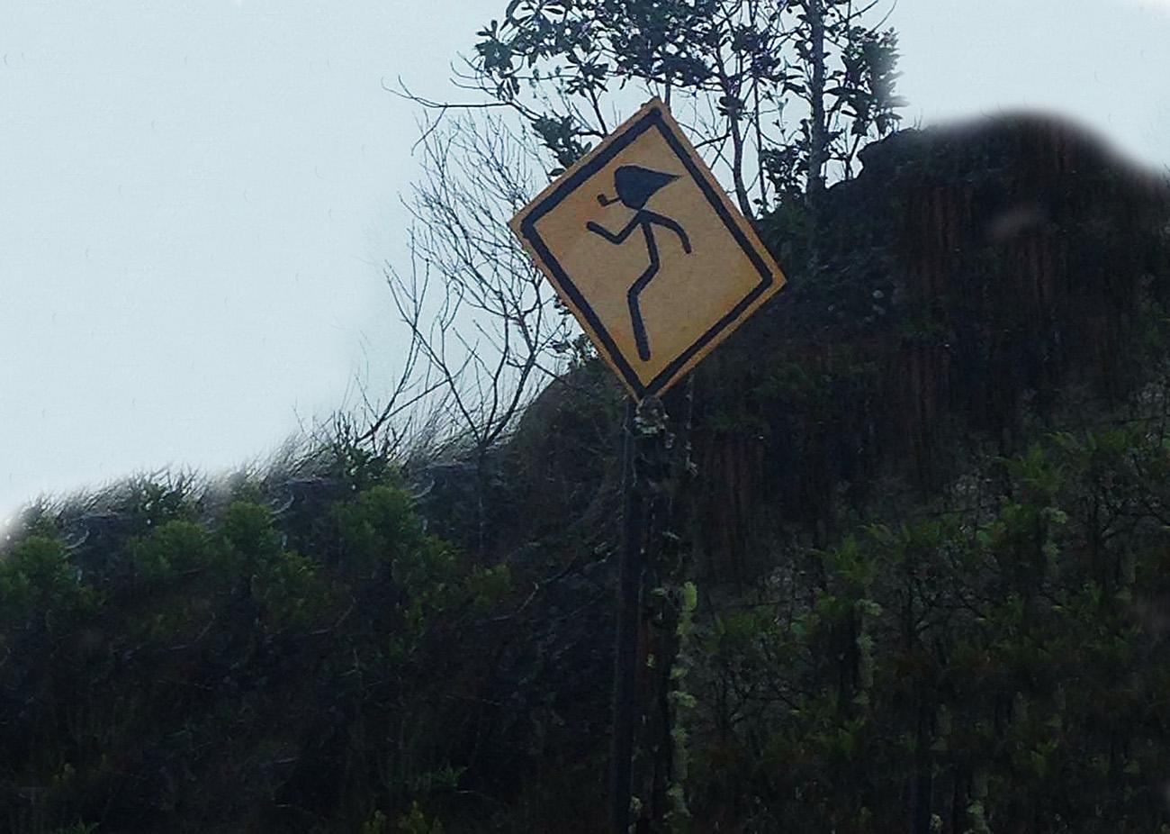 Na Serra da Bocaina (SP/RJ), a placa mostra que os sacis têm tratamento preferencial ao atravessar a rua