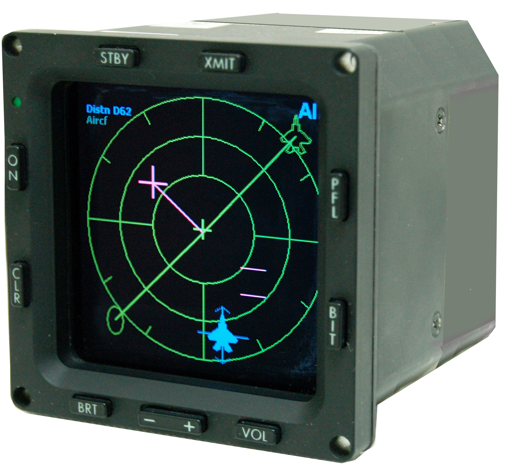 Um detector de radar utilizado em aviões de combate