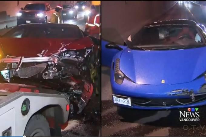 Acidente com Lambo e Ferrari