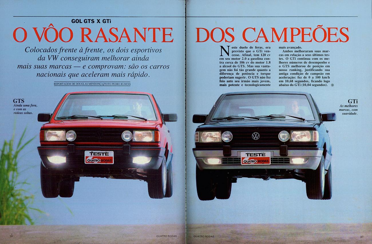 Em fevereiro de 1989, Gol GTS e a novidade GTi voaram baixo na revista