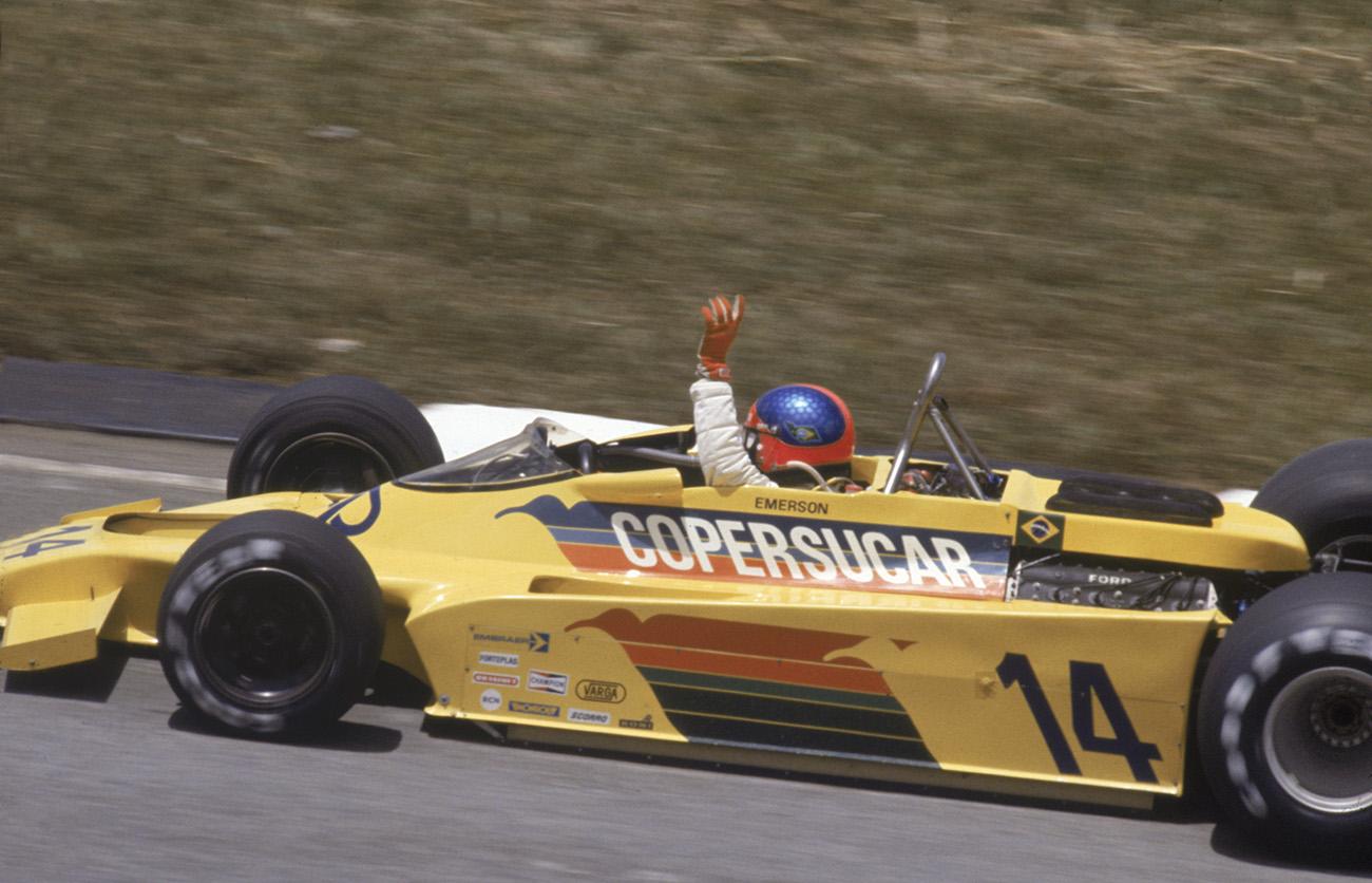 Emerson comemora o 2º lugar no GP do Brasil de 1978