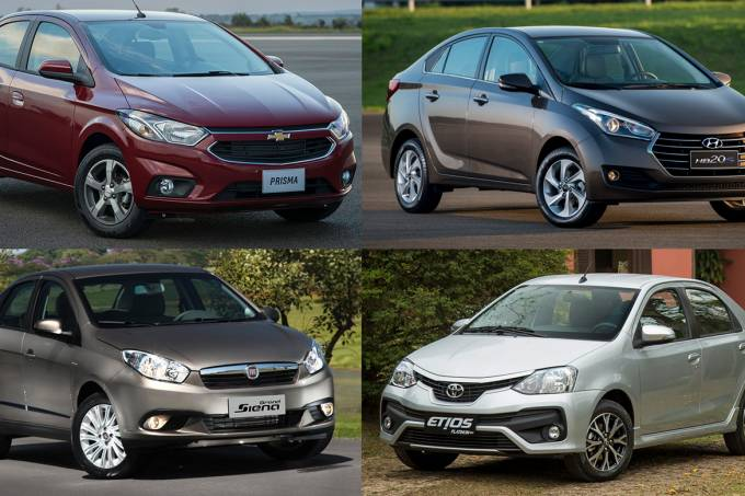 Chevrolet Prisma, Hyundai HB20S, Fiat Grand Siena e Toyota Etios