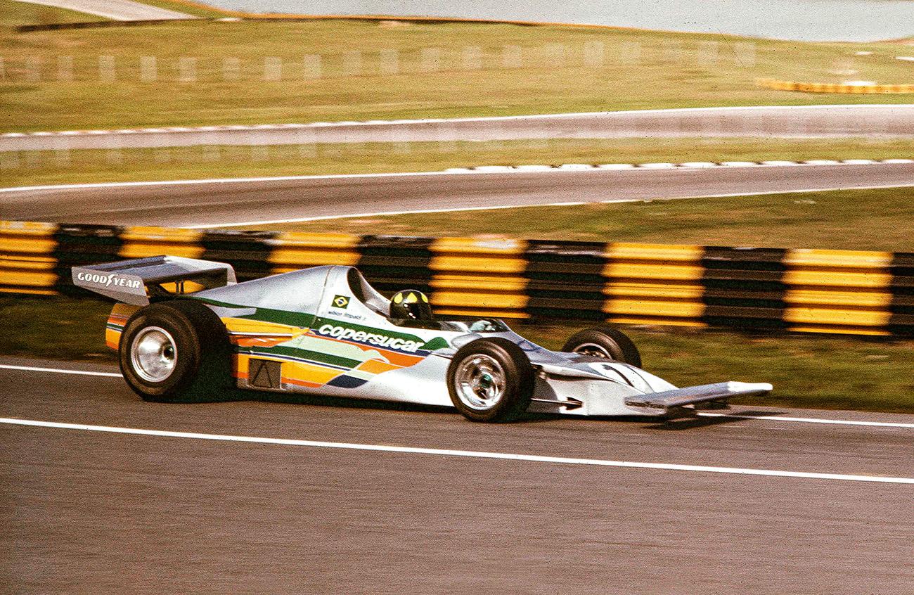 Teste do primeiro carro em Interlagos, a poucos dias da estreia, em 1975