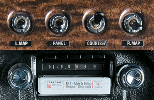 Interruptores para as luzes internas e rádio AM com cartucho estéreo