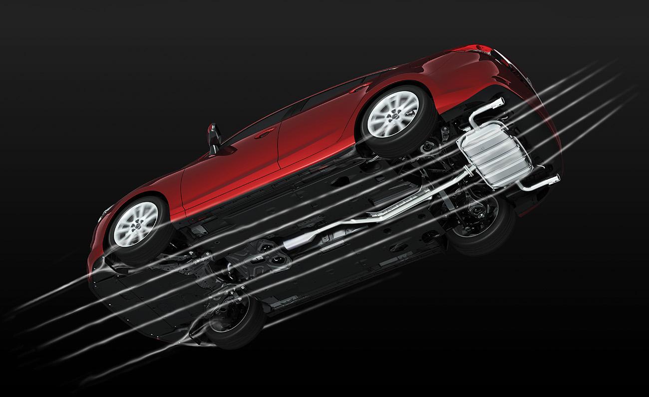 O fundo fechado do Mazda 6 melhora a aerodinâmica