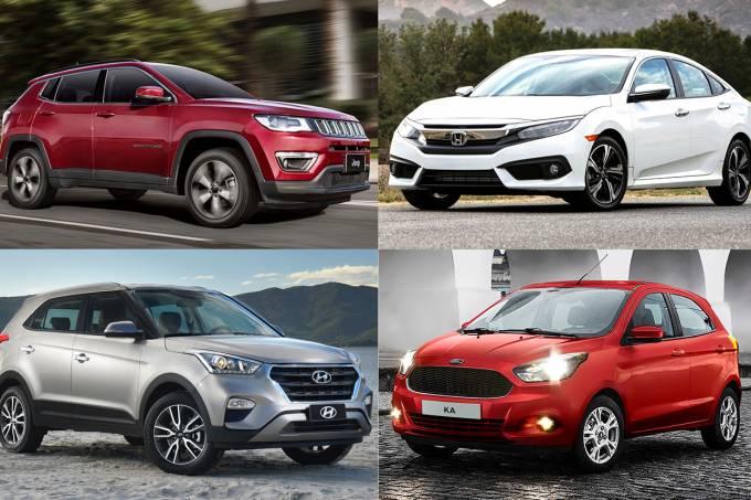 Jeep Compass, Honda Civic, Hyundai Creta e Ford Ka