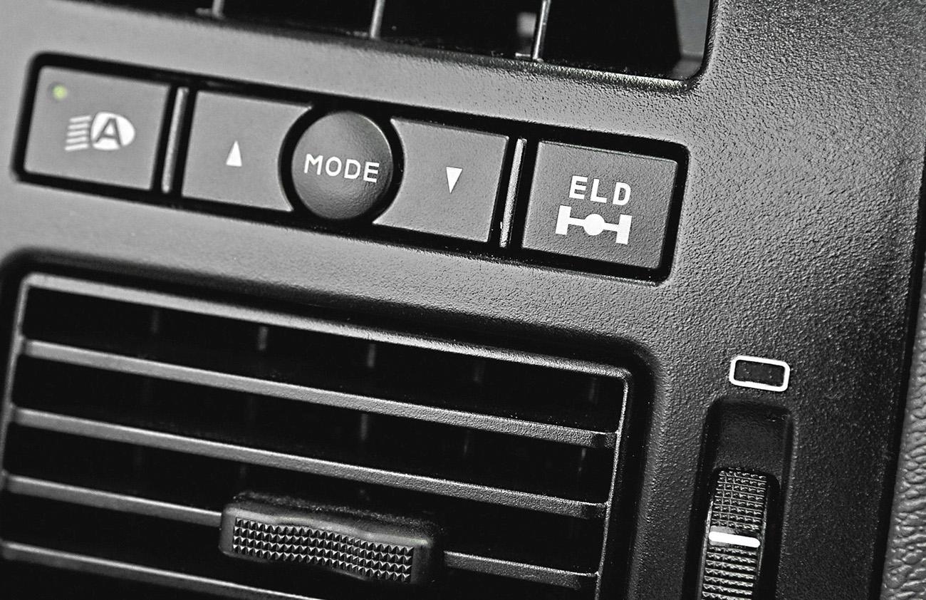 Detalhe do botão de acionamento do ELD