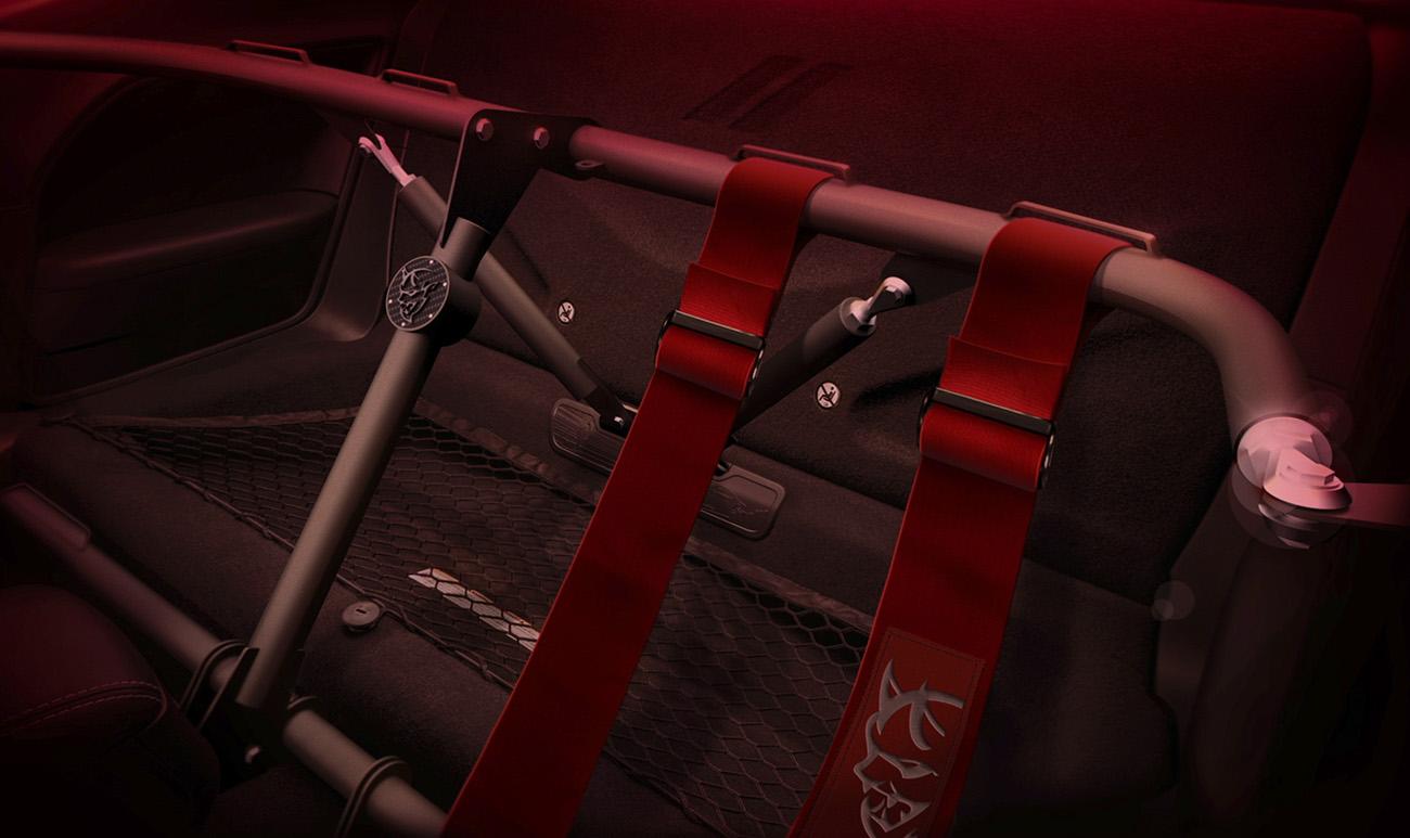 No lugar do banco traseiro pode ser instalada uma armação para cintos de segurança de quatro pontos