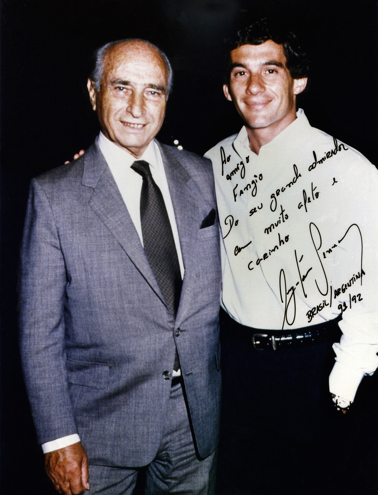 Fangio e Senna: admiração mútua