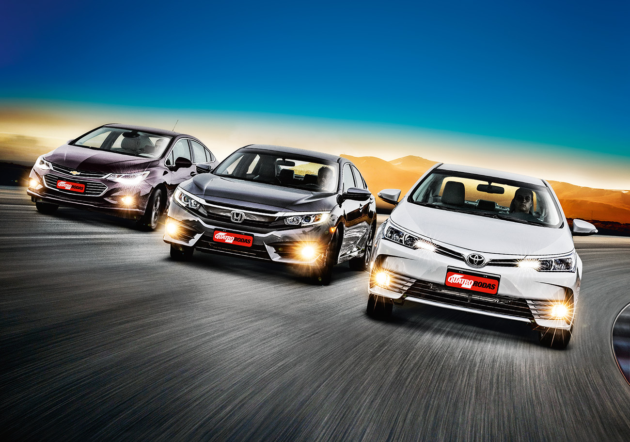 Chevrolet Cruze LTZ, Honda Civic EX e Toyota Corolla XEi