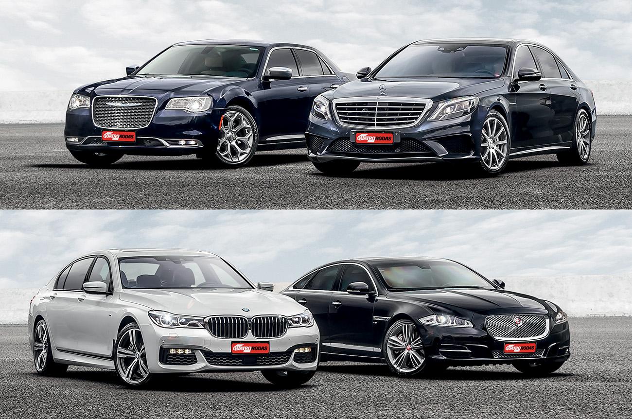 Chrysler 300C, Jaguar XJ, BMW 750Li e Mercedes-AMG S 63: extremos em tamanho e preço