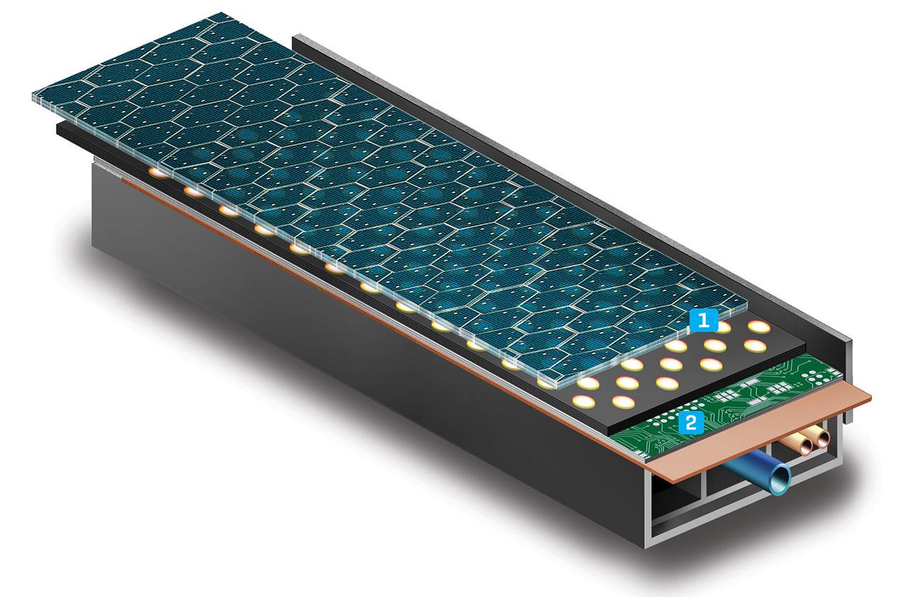 1) Superfície (vidro com células fotoelétricas); 2) Circuitos elétricos