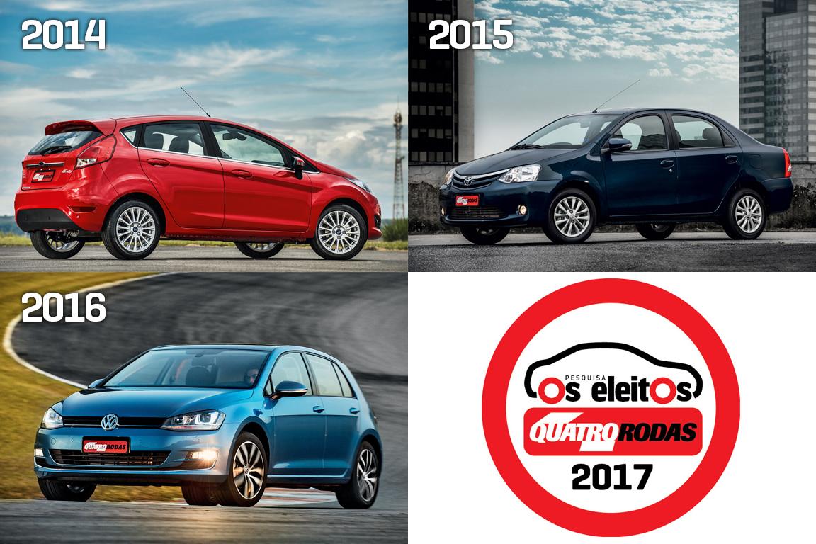 Os vencedores anteriores: Ford New Fiesta (2014), Toyota Etios sedã (2015) e VW Golf (2016)