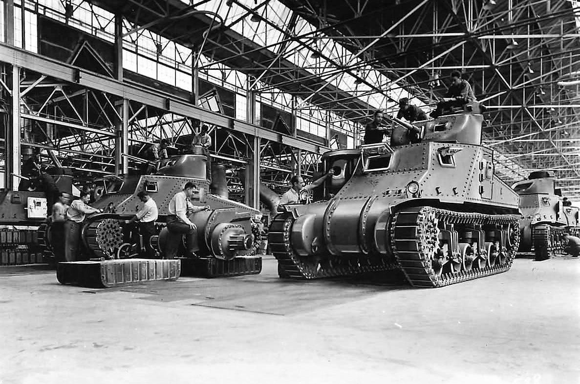 Linha de montagem do tanque médio americano M3 Lee