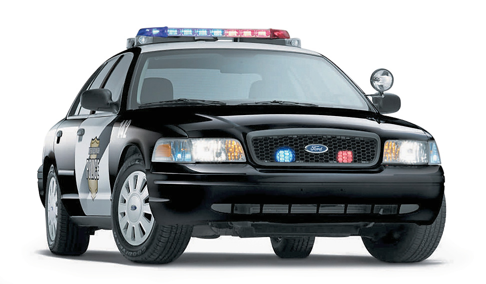 Ford Crown Victoria policial visto de frente