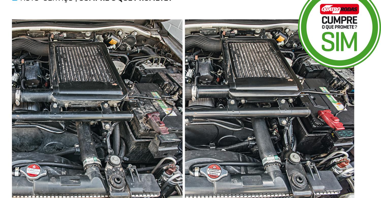 O motor antes (esq.) e depois da aplicação do produto diluído, seguida por umas pinceladas para limpar as partes mais sujas
